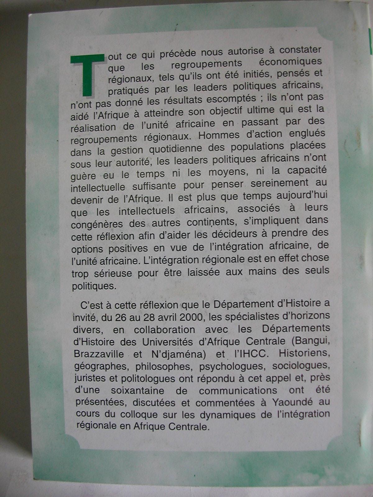 Dynamiques d'intégration régionale en Afrique centrale (2001)2